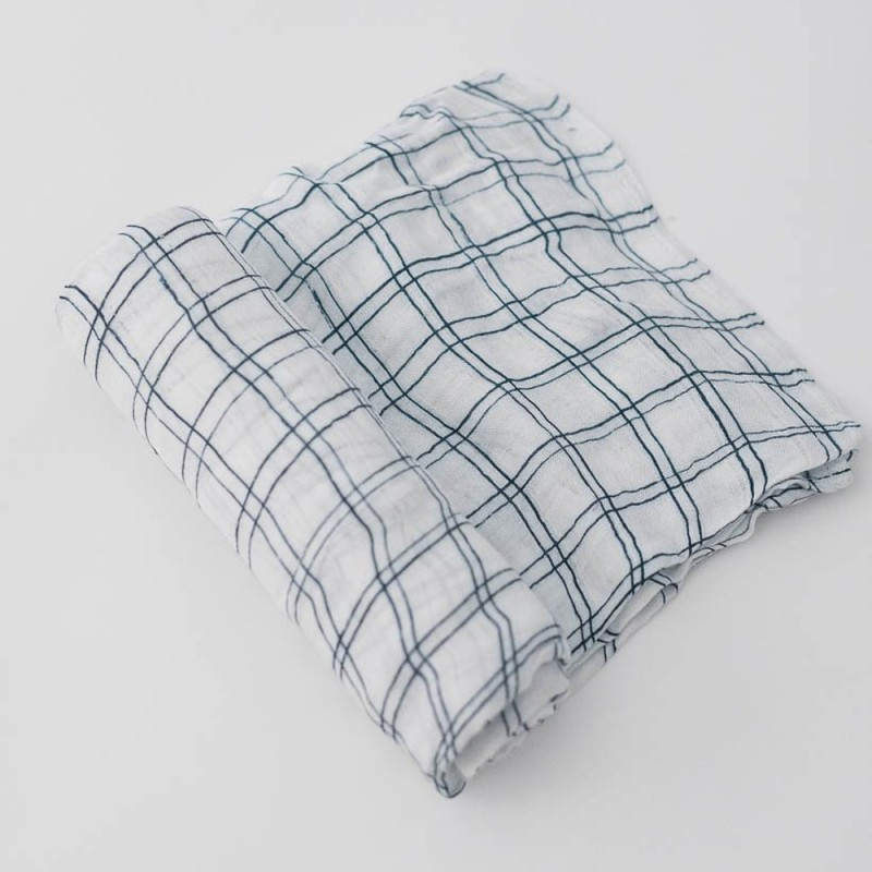 Muselinas de bambú Little Unicorn 120cm x 120cm Navy Windowpane
