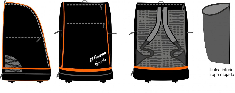 Mochila  Rex Naranja Negra