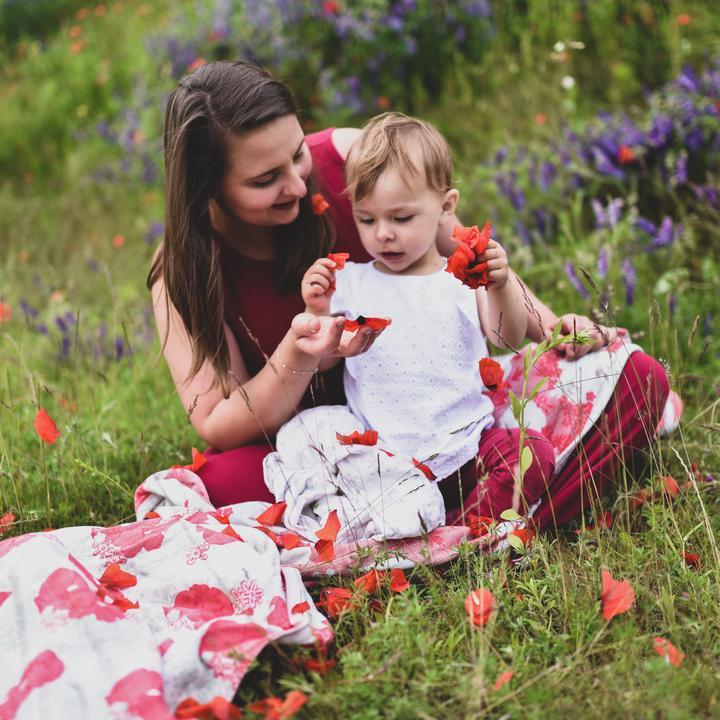 Fular tejido LOVALOOM LUXORY Polka Poppies T6 Edición Limitada