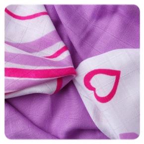 Pack de 9 Muselinas XKKO Bambú Hearts&Waves Lilac