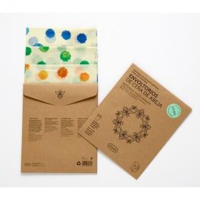Pack de tres envoltorios de cera de abeja y algodón 100%