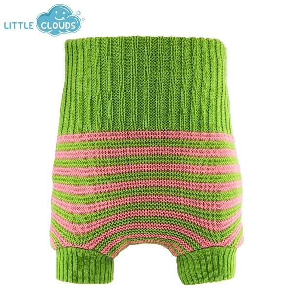 Cobertor de lana Little Clouds verde y rosa