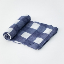 Muselinas de bambú Little Unicorn 120cm x 120cm Blue Plaid