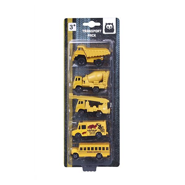 Set de 5 vehículos construcción y transporte