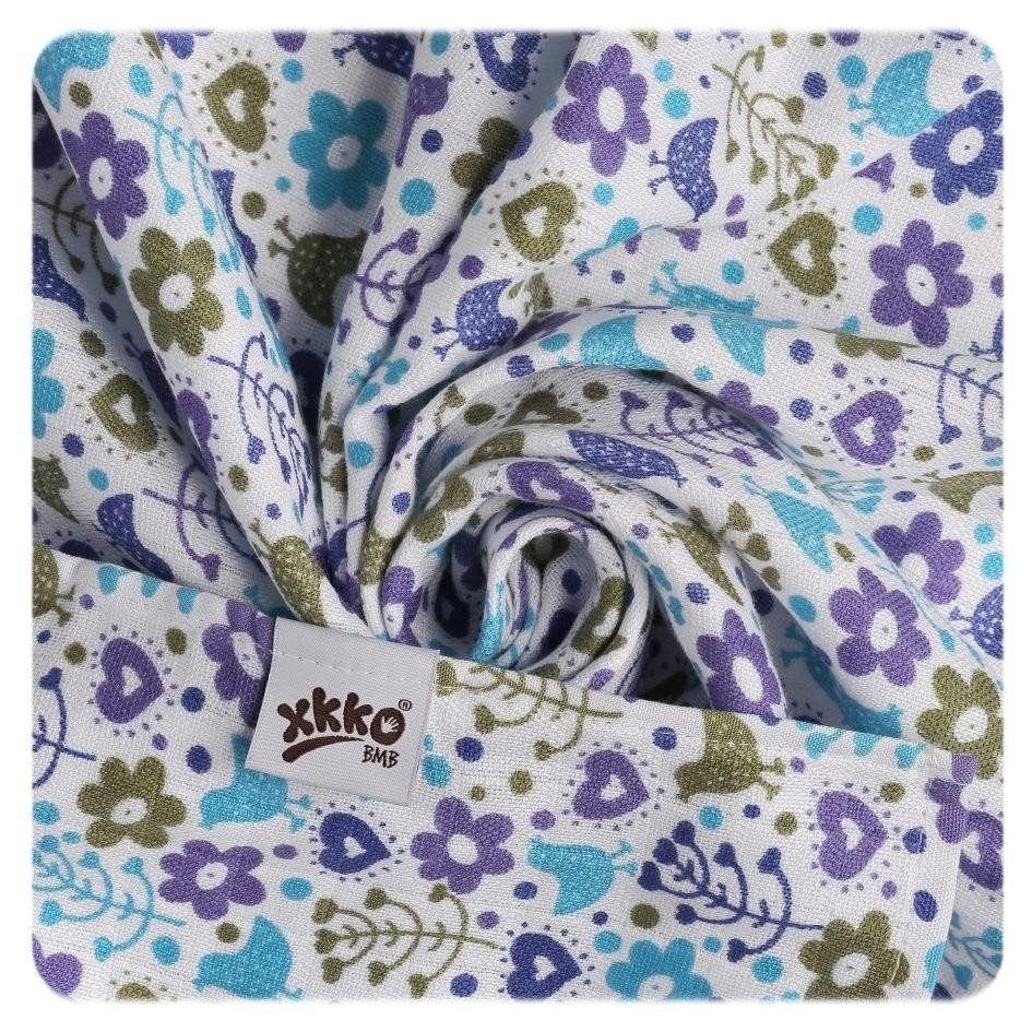 Pack de 9 Muselinas XKKO Bambú Flowers&Birds Blue