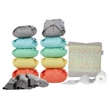 Pack de 10 pañales Pop-in V2 colores pastel 2020 con accesorios
