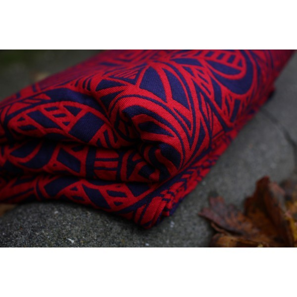 Fular Yaro Urban Geo Contra Dark-Violet Red con lana