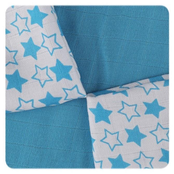 Pack de 9 Muselinas XKKO Bambú Little Stars Cyan