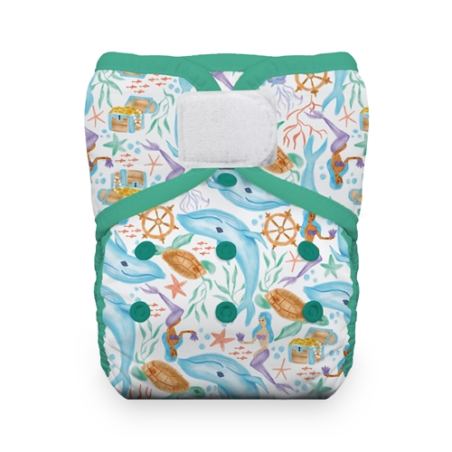 Pañal rellenable unitalla Thirsties Natural Mermaid Lagoon velcro