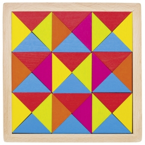Puzle geométrico de madera arco iris