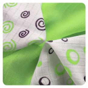 Pack de 9 Muselinas XKKO Bambú Spirals&Bubbles Lime