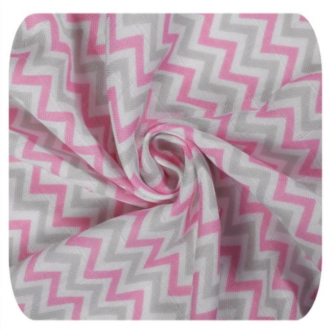 Muselina XKKO Bambú Baby Pink Chevron 120 cm