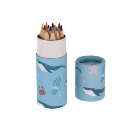 Tubo con 12 lápices de colores