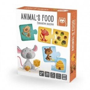 Animals food puzle educativo