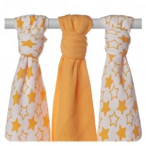 Pack de 3 Muselinas XKKO Bambú Little Stars Orange