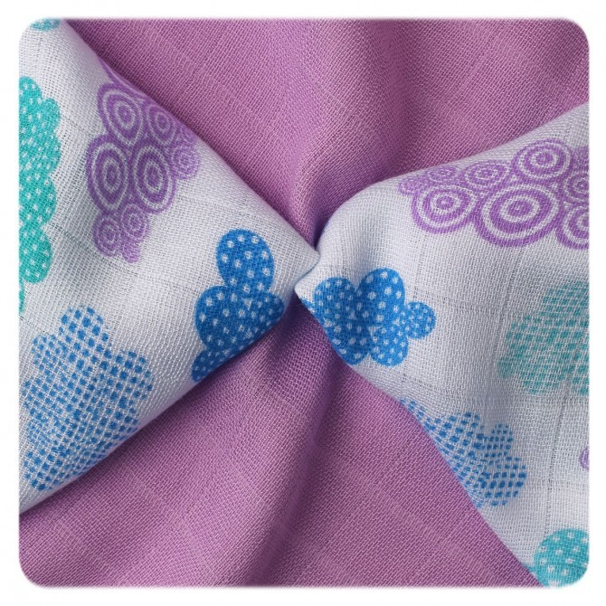 Pack de 9 Muselinas XKKO Bambú Heaven Lilac Blue