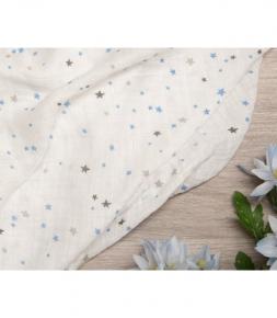 Muselina de bambú estrellas azules