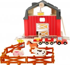 Granja con tractor, animales y cercado
