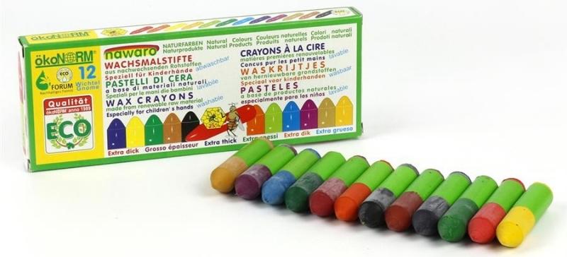 12 mini crayones de colores naturales Ökonorm