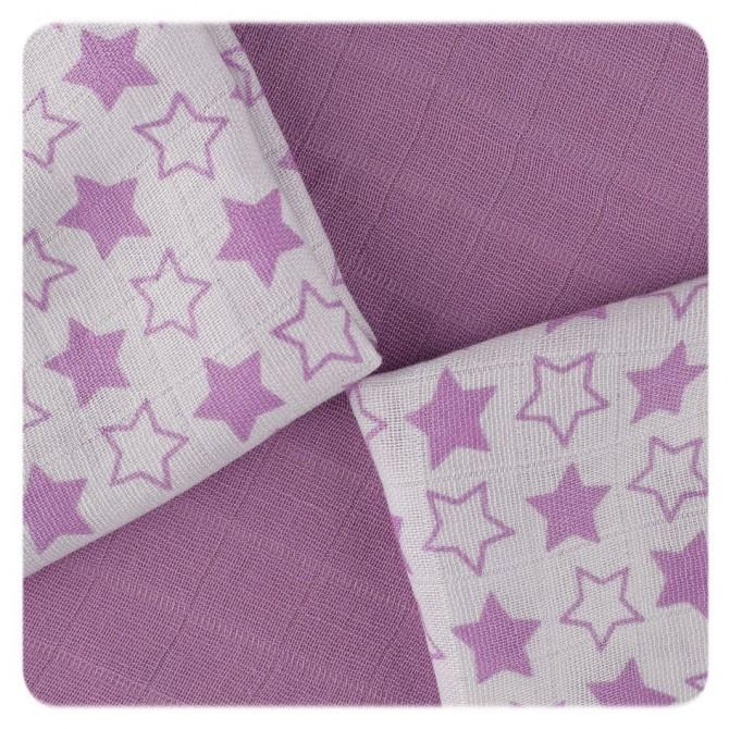 Pack de 9 Muselinas XKKO Bambú Little Stars Lilac