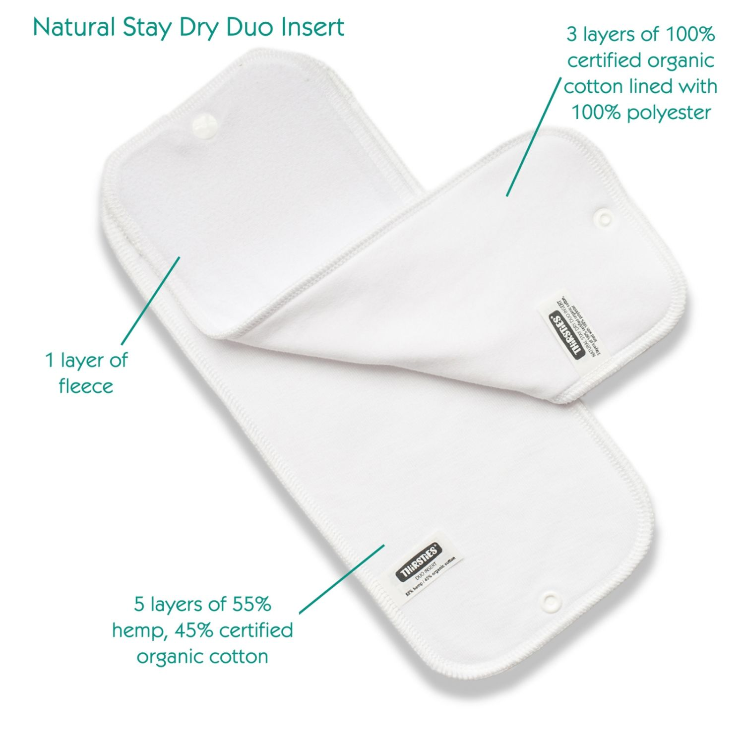 Pack de absorbentes Thirsties Duo Stay Dry Natural