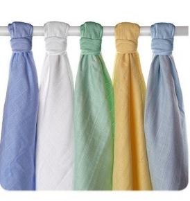 Pack de 5 gasas XKKO de algodón orgánico pastel blue