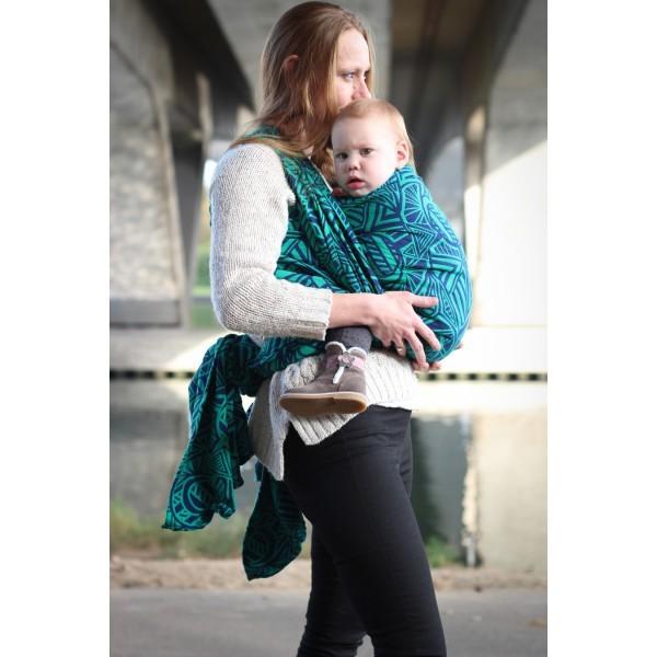 Fular Yaro Urban Geo Contra Green-Blue con lana