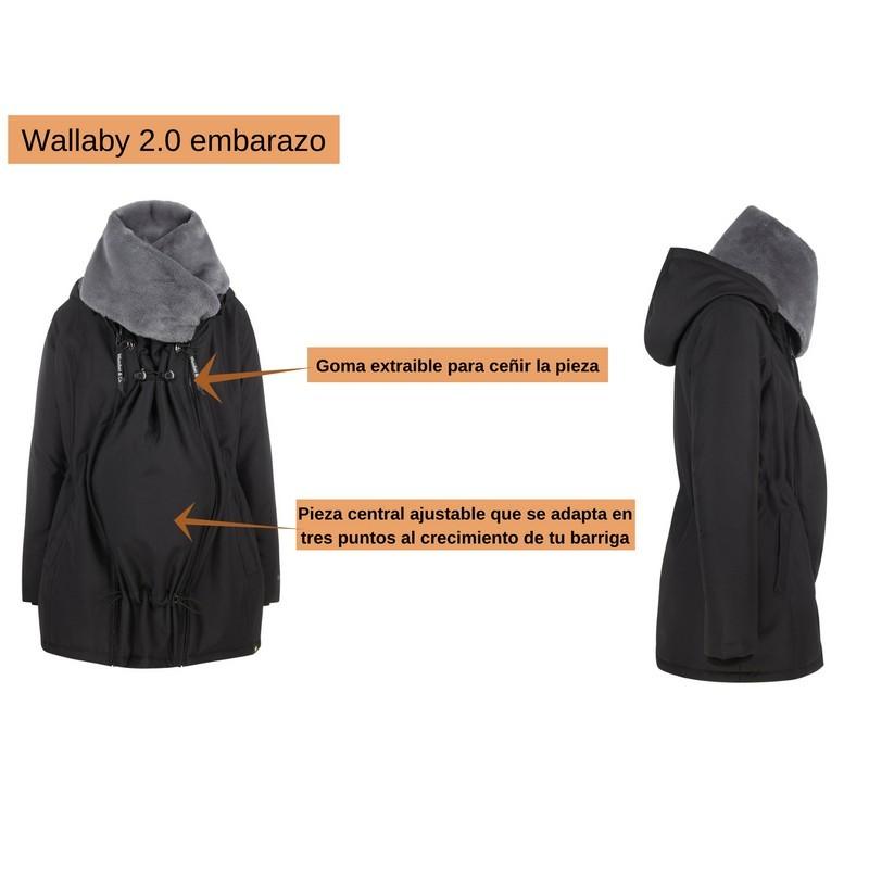Abrigo de porteo y embarazo Wallaby 2.0 Gris/Negro