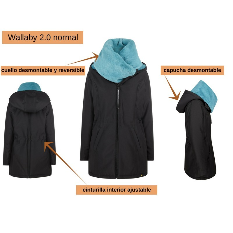 Abrigo de porteo y embarazo Wallaby 2.0 Negro/Azul